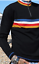MENS NEW run /& fly vintage mod style black retro zip neck jumper with stripes