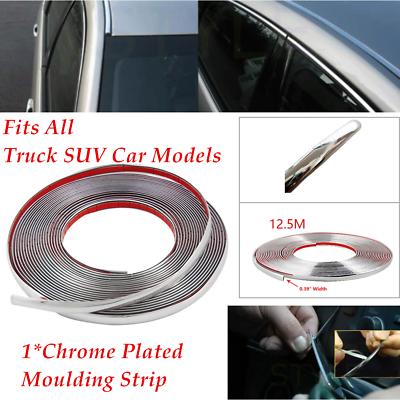 12.5m Chrome 3M Adhesive Car Door Body Edge Moulding Trim Guard Strip Protector