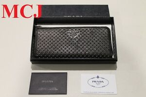 039-Authentic-039-Prada-Milano-Dal1913-1m1183-Long-Studded-Wallet-Nero