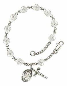 7 1//2 Inch December Birth Month Bead Rosary Bracelet with Patron Saint Petite Charm