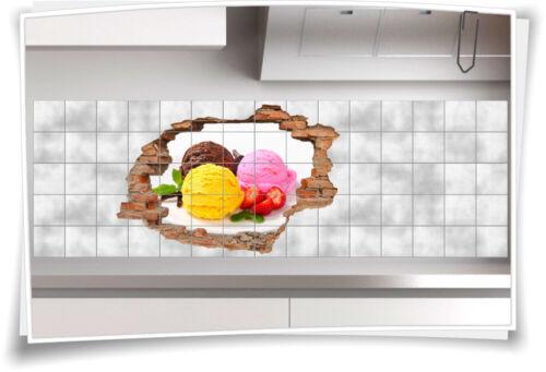 3D Fliesen-Bild Fliesen-Aufkleber Eis-Kugel Erdbeeren Teller Schoko Deko