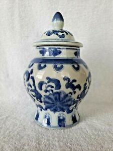 """Vintage Ginger Jar Asian Urn Floral Blue White Vase 8.5""""tall Lid Ceramic"""