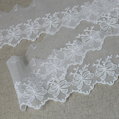 14Yds Broderie Anglaise Tulle eyelet lace trim 7cm Off-White YH1362a laceking