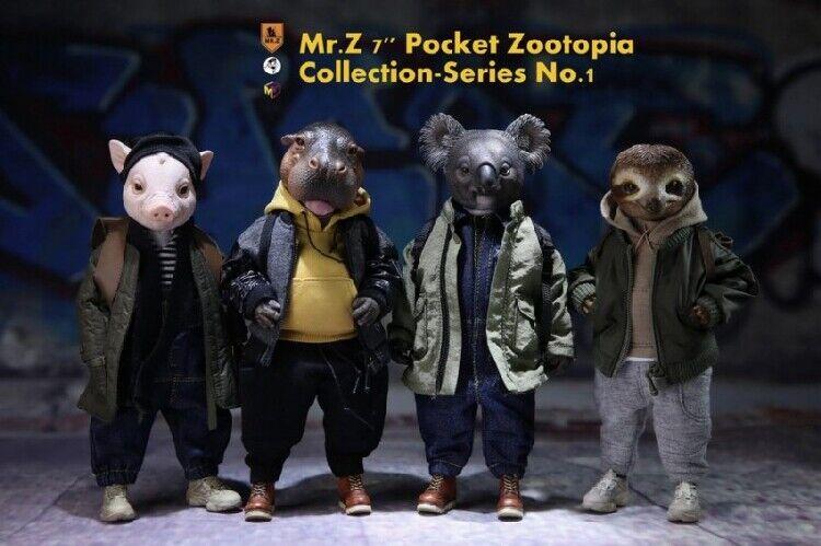 Poche Zootopia doll Anime COCHON & HIPPOPOTAME & Koala & Folivora Modèle Animal M. Z 7  figurines