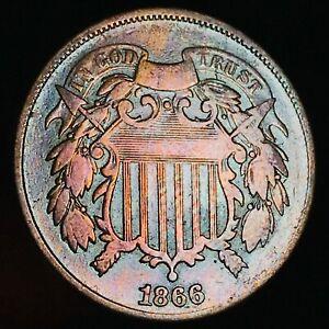 1866-Two-Cent-Piece-2C-High-Grade-Toned-Good-Civil-War-Era-US-Copper-Coin-CC4867