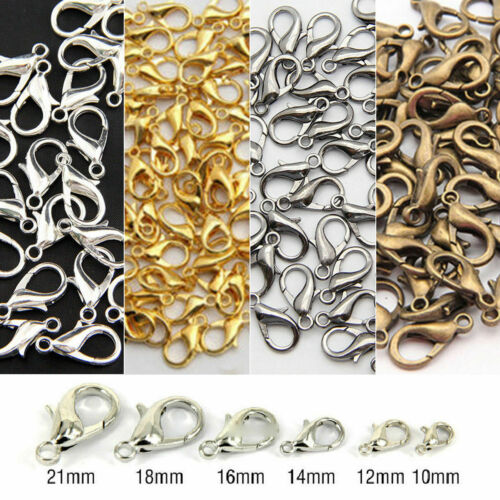 20//100Pcs Silver//Gold//Bronze Lobster Claw Clasps Hooks Finding DIY 10//12//14mm Yc