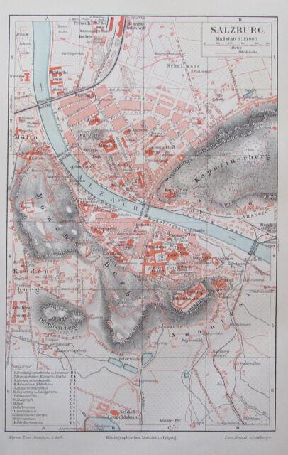 1897 Salzburg Stadtplan Österreich - Lithografie alte Landkarte old map