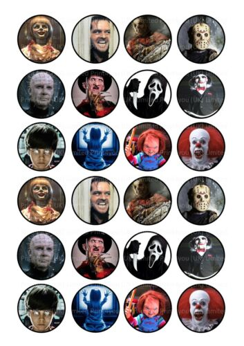 24 edible cake toppers décorations adulte halloween effrayant party films d/'horreur