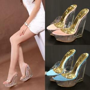 d8ec3af61fe Details about New Peep Toe High Heel Wedge Clear Slides Platform Mules  Sandals Nightclub Shoes