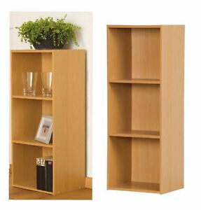 WOOD-STORAGE-UNIT-CUBE-BEECH-3-TIER-BOOKCASE-SHELVING-HOME-OFFICE-DISPLAY-NEW