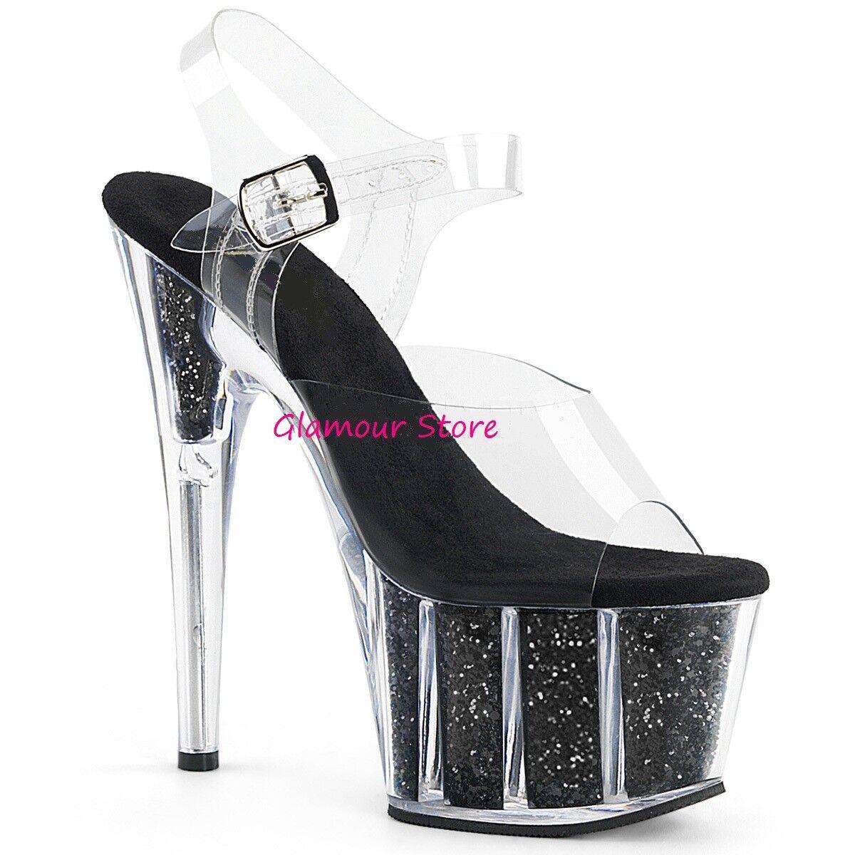 Sexy SANDALI SANDALI SANDALI GLITTER tacco 18 noir TRASPARENTE plateau dal 35 a 42 chaussures U.S.A. 9ab7bf