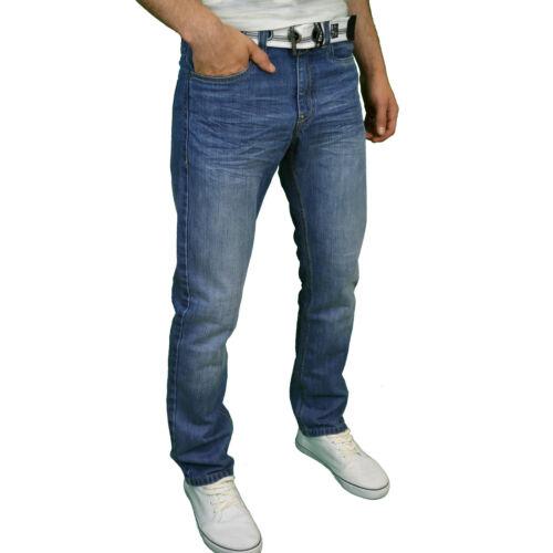 nuovo con etichetta ENZO Da Uomo Di Marca Vestibilità Normale Gamba Dritta Cintura in denim jeans