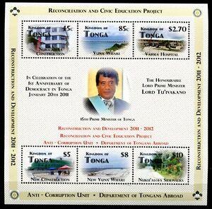 Tonga-2012-Block-Demokratie-Politik-Koenig-Politics-King-Postfrisch-MNH