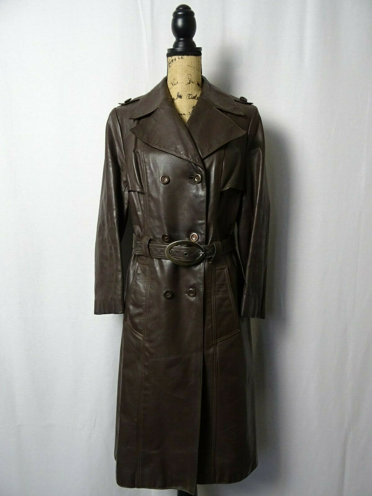 VINTAGE 70'S NIKATOR GERMAN LEATHER MOTORCYCLE MILITARY TRENCH COAT SIZE 8