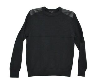 Macy's GUESS Men's Herringbone Sweater With Faux Leather Piecing Black Small
