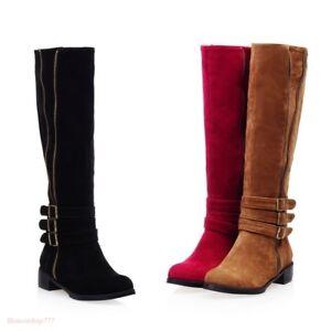 Hot Womens Wide Calf High Leg Knee Biker Low Heel Riding Boots Plus ... b5d5d4fe3a