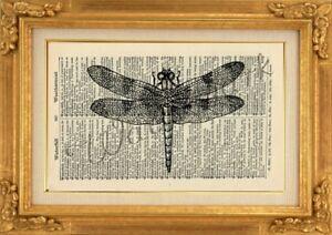 ORIGINAL-Dragonfly-Art-Print-on-Vintage-Dictionary-Page-Wall-Art-NO-502B