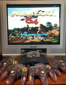 NINTENDO-64-BUNDLE-Preloved-N64-PAL-Game-Console-4-Controllers-amp-Mario-Kart