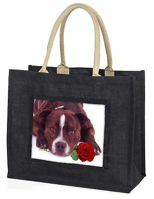 gestromt Staffie mit rosé große schwarze Einkaufstasche WEIHNACHTEN