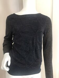 Topshop-Navy-Metallic-Copper-Thin-Knit-Jumper-Size-12