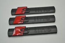 3X Audi S-Line Black Metal Badge Side Rear Boot Emblem S Line A 1 2 3 4 5 6 8 Q