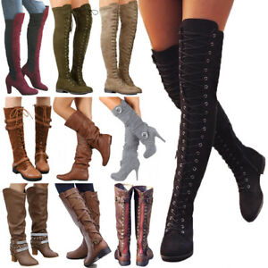 Womens-Ladies-Thigh-High-Over-The-Knee-Boots-Long-Stretch-Lace-Up-Shoes-Size