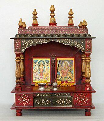 175 Wooden Hand Painted Hindu Temple Mandir Pooja Ghar Mandapam For Worship Art