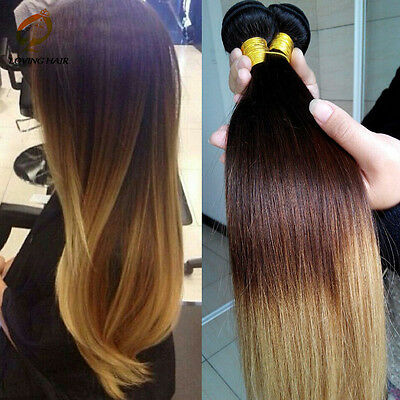 4 bundles Brazilian Virgin Ombre 3tone Straight  Human Hair Extensions 200g