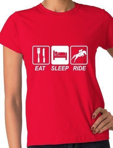 Eat Sleep Ride Horse Pony Funny Ladies T Shirt Gift  Size S-XXL