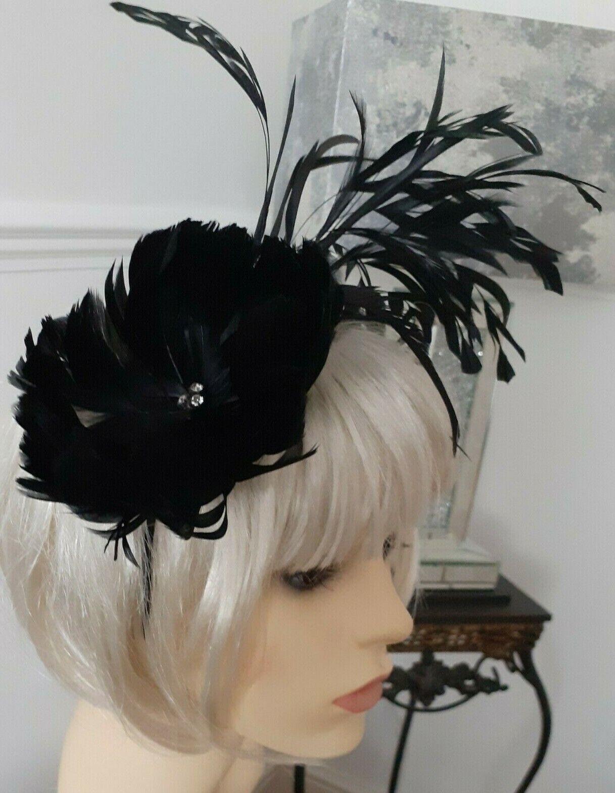 Señoras Negro Plumas Diadema brillante del grano Fascinator de la boda Racing