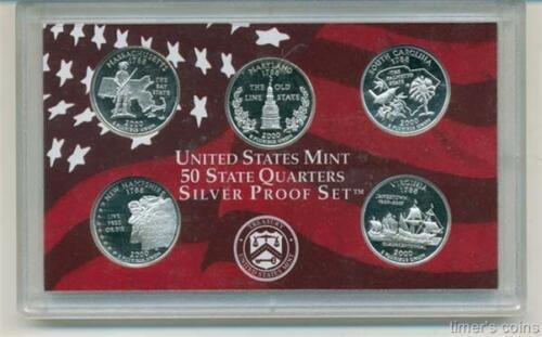 NO Box//COA-90/% Silver 2000 Silver Proof State Quarter Set 5 Coins