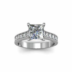1.50 Ct Princess Genuine Moissanite Engagement Ring 14K Solid White Gold Size 4
