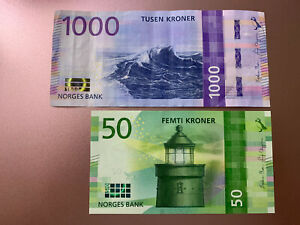 1000 + 50 Norway Kroner Banknotes. 1050 Norwegian  Kroner Total. 2 Cir Bills. H
