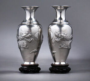 Sincere Antique Chinese Export Sterling Silver Vases Asia