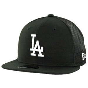 New-Era-950-Los-Angeles-Dodgers-034-Black-White-034-Trucker-Snapback-Hat-BK-MLB-Cap