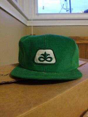 Vintage Pioneer Seed Corn Patch Corduroy Snapback Hat Cap K PRODUCTS NOS
