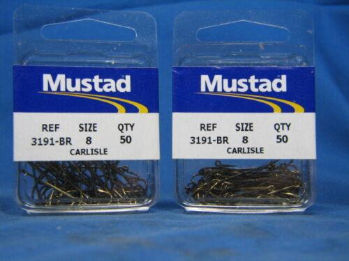 100 Mustad 3191-BR SZ 8 Bronze Carlisle Hook 2 boxes 50Pk Size 8 Panfish
