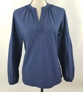 Lou-amp-Grey-Women-Blue-V-Neck-Blouse-Flare-Cotton-Bell-Long-Sleeve-Top-XS