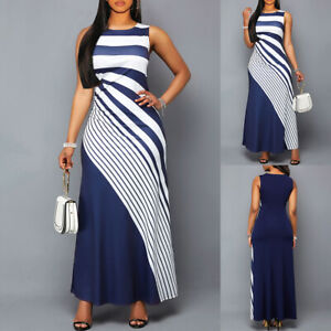 Womens-Striped-Sleeveless-Bodycon-Long-Maxi-Dress-Summer-Ladies-Evening-Party