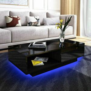 High Gloss Coffee Table Storage Drawer Led Modern Living Room Black Furniture Ebay