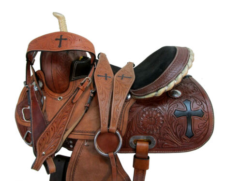 TRAIL SADDLE WESTERN HORSE PLEASURE FLORAL TOOLED CROSS LEATHER TACK SET 15 16
