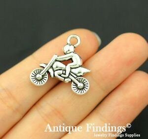 6pcs Motorcycle Charm Antique Silver Charm Necklace Pendant SC797