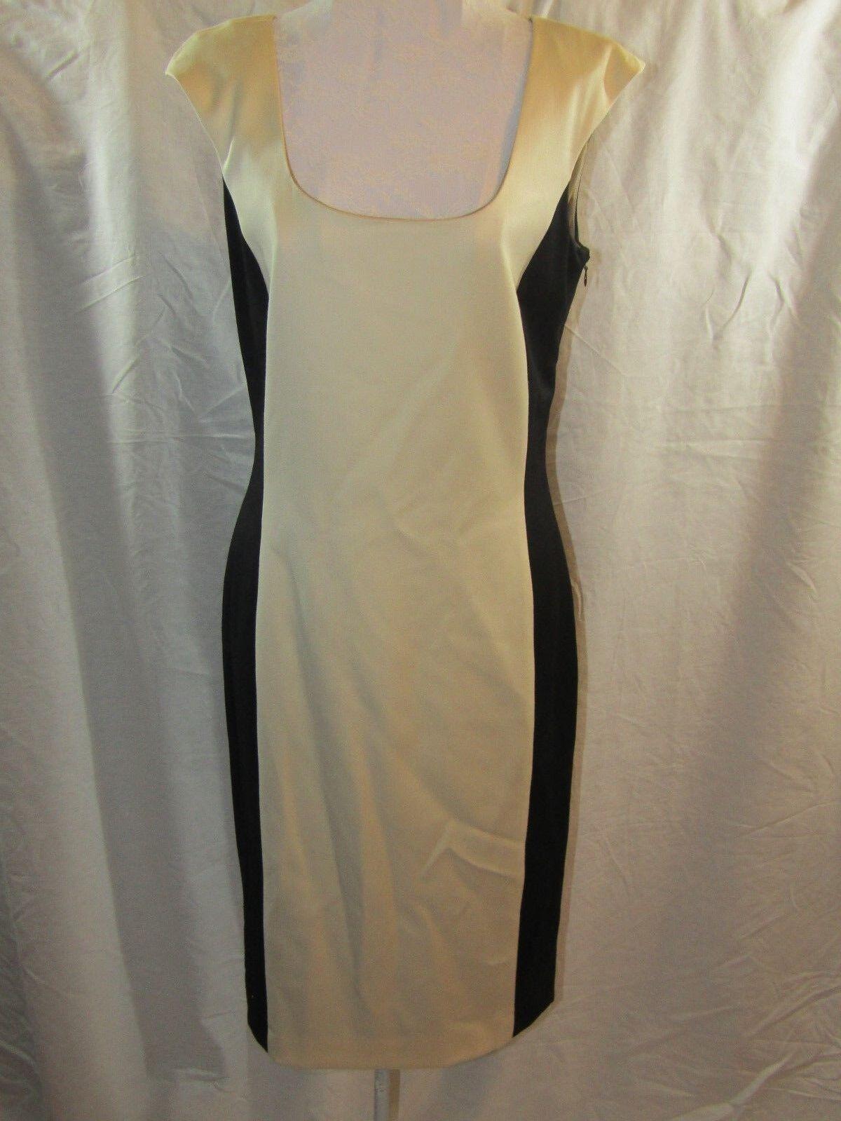 CARLA CARINI Womans Virgin Wool Blend schwarz & Beige Sleeveless Dress Größe 6 NWT