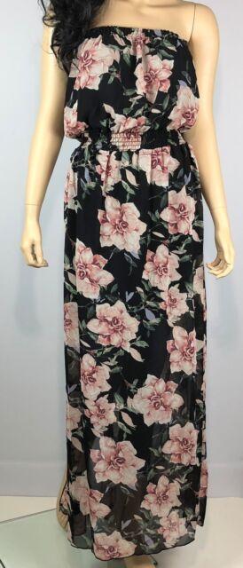Womens Floral Maxi Dress Sz 3XL Strapless Long Black Pink Green Peach Slit Side