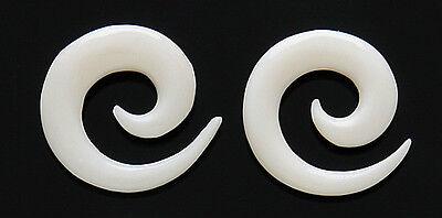 PAIR of Organic Spiral Bone Taper Expander Ear Stretcher Ear Plugs 6g 4g 2g