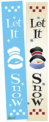 "Joanie 24"" STENCIL Let It Snow Snowflak Frosty Snowman Hat Winter Christmas Sign"