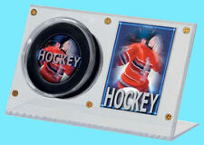 1 ULTRA PRO ACRYLIC HOCKEY PUCK & CARD HOLDER Desktop Stand Display Case Clear