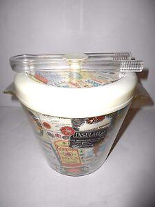 Mid Century Camel Insulated Ice Bucket w/ Tongs Liquor Labels Barware Vintage