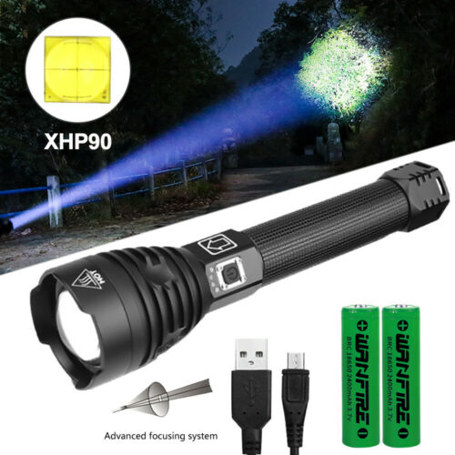 Bright XHP50 XHP90 XHP70.2 Zoom Flashlight LED USB Rechargeable Torch Headlamp