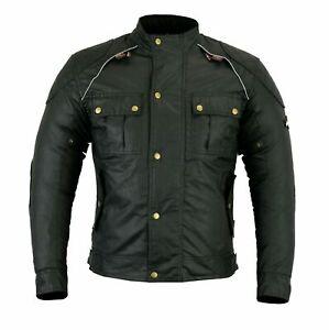 Uomo-Lewis-Giacca-Moto-Da-Corsa-Tessuto-Cotone-Cerato-CE-Rimovibile-Protezioni